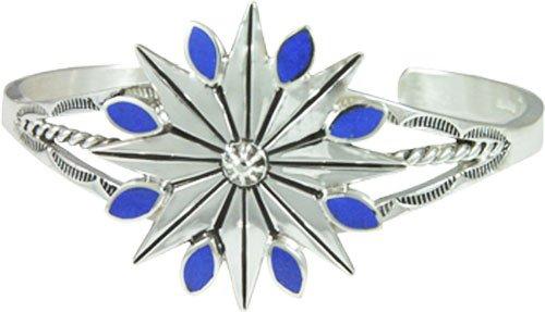 Winter Star Snowflake Cuff Silver Bracelet