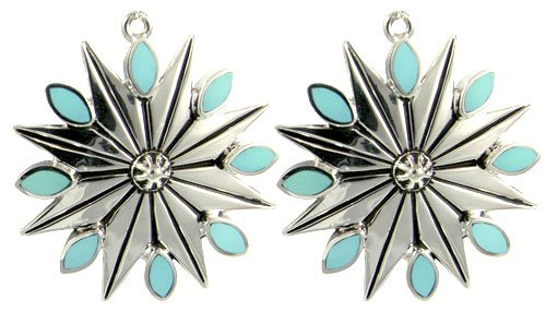Winter Star Snowflake Silver Earrings
