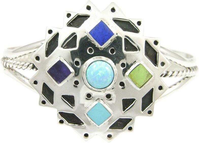 Prism Snowflake Cuff Silver Bracelet