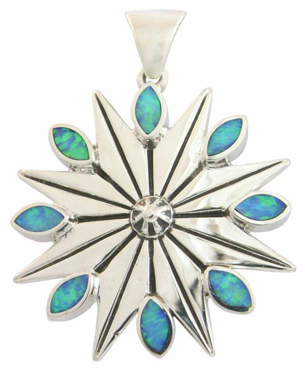 Winter Star Snowflake Silver Pendant