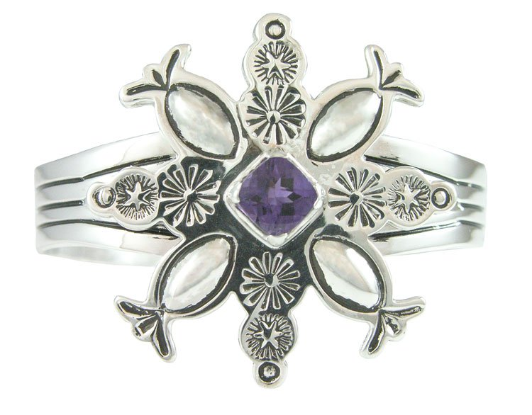 Classic Navajo Style Snowflake Cuff Silver Bracelet