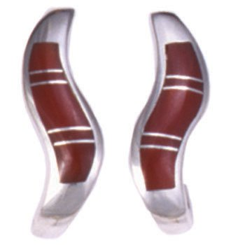 Large Curved Wave Silver Inlay Earrings