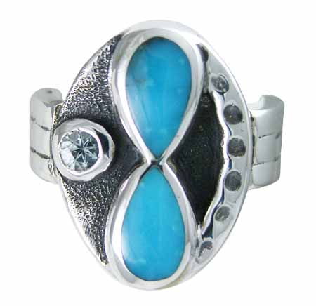 Water Lily Gemstone Silver Ring