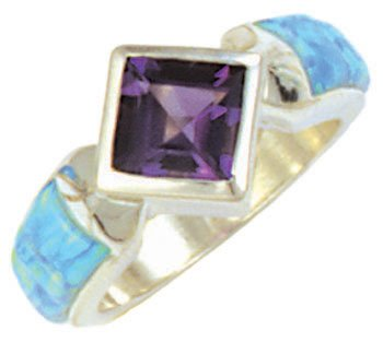 Cobble Cut Silver Inlay Skinny Band Ring With Square Gemstone
