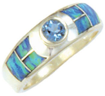 Wide Silver Inlay Ring With Round Gemstone Accent