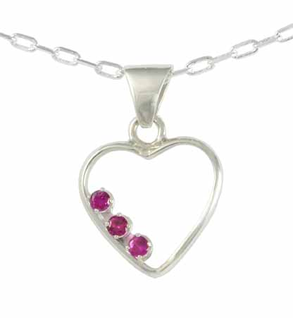 Sterling Silver Heart Pendant With Gemstones