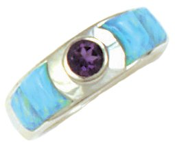 Wide Cobble Cut Silver Inlay Ring With Round Gemstone Accent