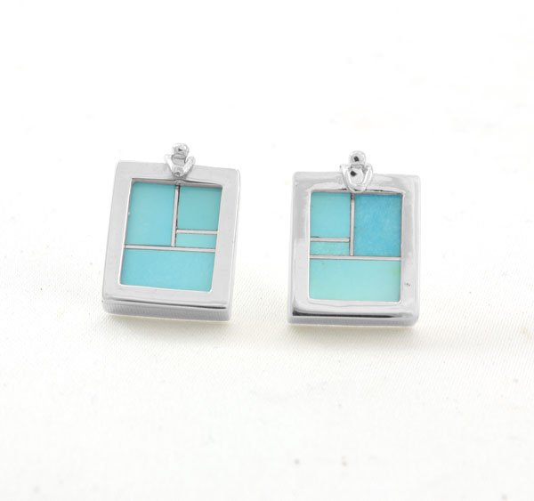 Teme Sterling Silver Square Swap Out Inlay Earrings