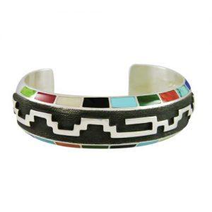 Navajo Multi-Stone Silver Overlay Bracelet