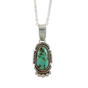 Navajo Green Turquoise Silver Necklace