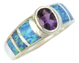 Tapered Silver Inlay Ring With Oval Gemstone Accent