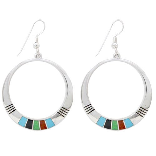 Navajo Sterling Silver Crescent Moon Channel Inlay Earrings