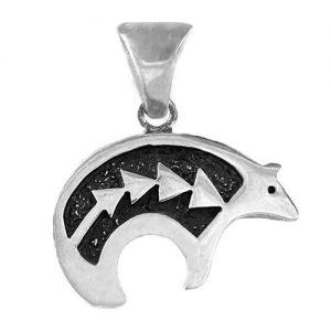 Navajo Sterling Silver Bear Spirit Line Pendant