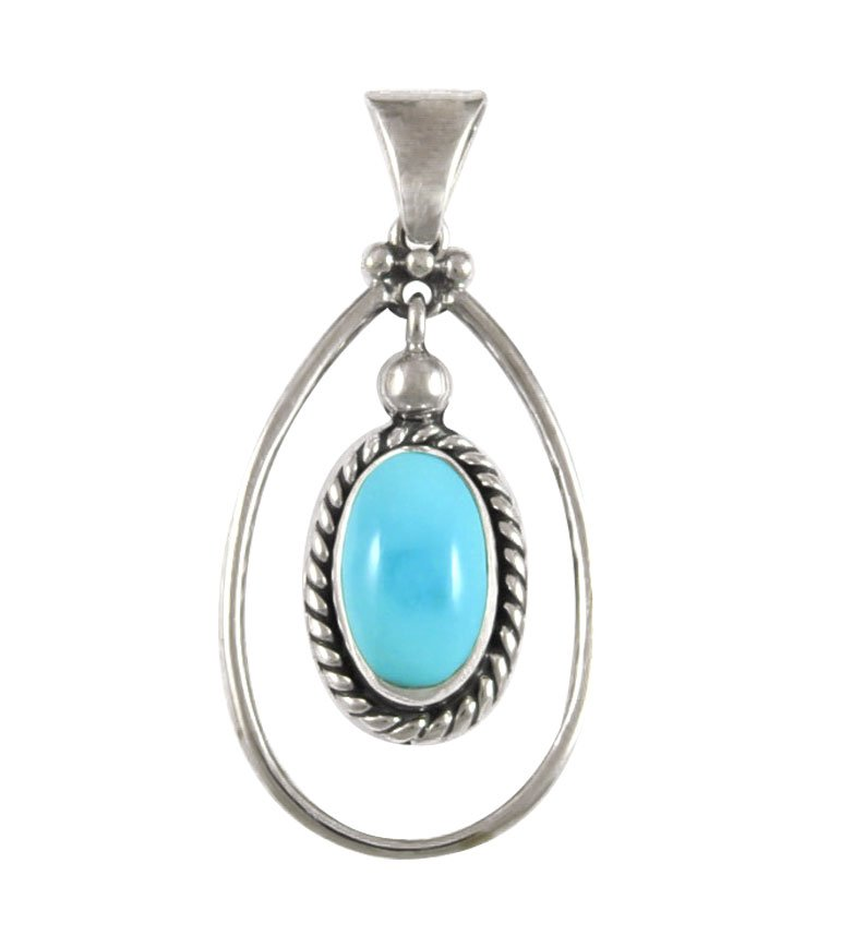 Navajo Hoop Pendant With Turquoise