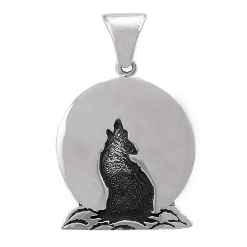 Sterling Coyote Cut-Out/Overlay Pendant
