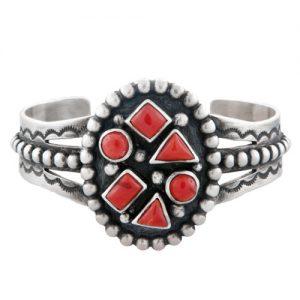New Age Navajo Multi Cluster Silver Cuff Bracelet
