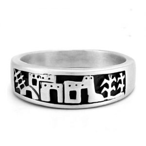 Navajo Southwest Pueblo Village Scene Sterling Silver Overlay Band Ring