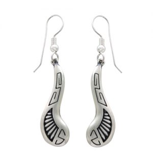 Sterling Silver Repousse Swirl Dangle Earrings