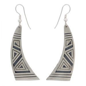 Flared Curved Hopi Style Sterling Silver Overlay Earrings