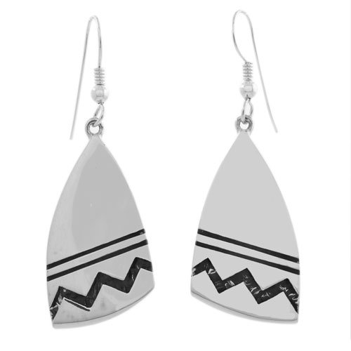 Navajo Mountain Stamped Silver Earrings