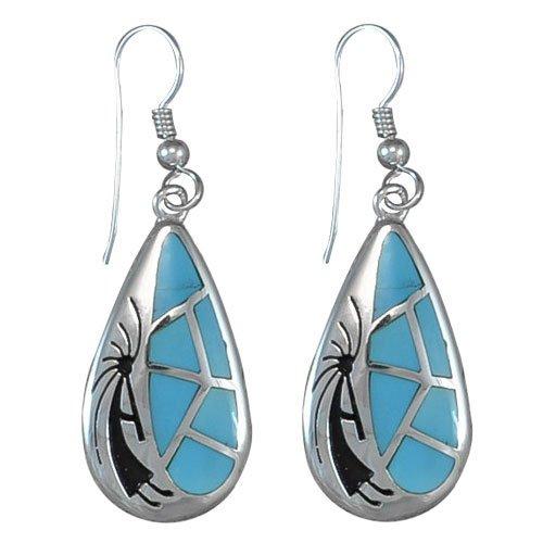 Kokopelli Inlay Hoop Earrings