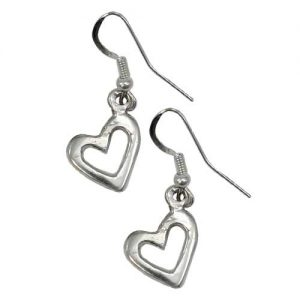 Navajo Plain Casted Silver Heart Earrings