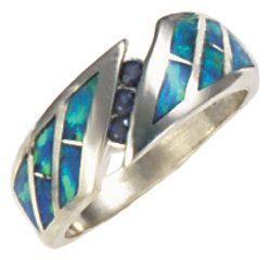 Wrap Around Silver Inlay Ring With Three Sapphire Gemstones