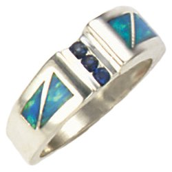 Stepped Rectangle Silver Inlay Ring With Sapphire Gemstones
