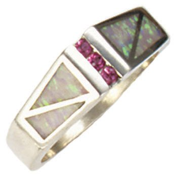 Double Rectangle Open Silver Inlay Ring With Sapphire Gemstones Accents