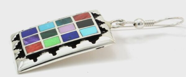 Navajo Sterling Silver Rug Style Channel Inlay Earrings