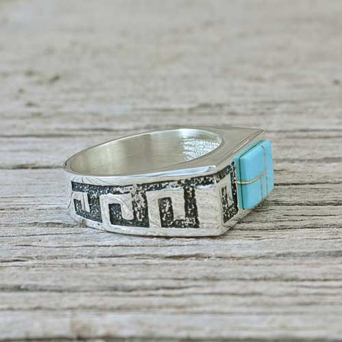 Greek Key Style Inlay Ring