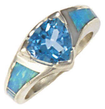 Tapered Silver Inlay Ring With Trillion Gemstone