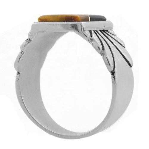 Navajo Tassle Stamp Mens Inlay Ring