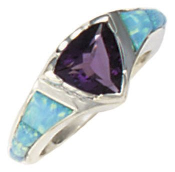 Tapered Cobble Cut Silver Inlay Ring With Trillion Gemstone