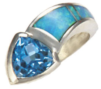 Silver Inlay Tapered Ring With Trillion Gemstone