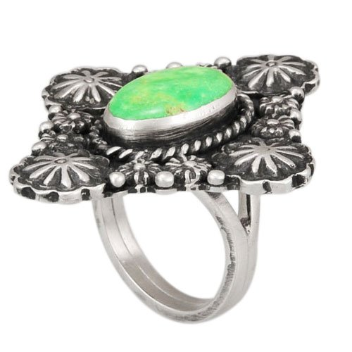 Navajo Silver Flower Stamped One Stone Ring