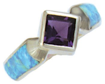 Square Gemstone Cobble Cut Silver Inlay Ring
