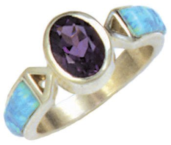 Open Trillion Sides Cobble Cut Silver Inlay Ring With Oval Gemstone