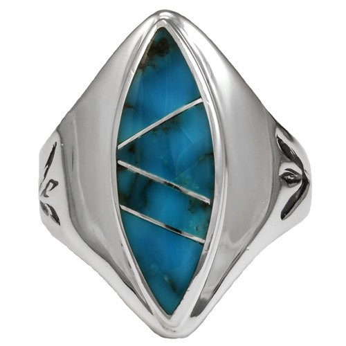 Vintage Style Navajo Marquise Silver Inlay Ring