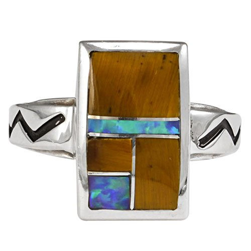 Rectangle Silver Inlay Ring With Zig Zig Stamped Band