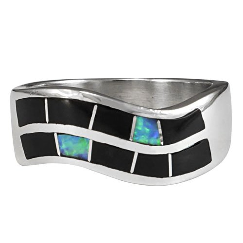Double Row Silver Inlay Men's Ring Band