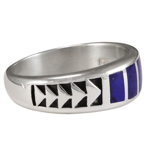 Five Stone Arrow Band Silver Inlay Ring