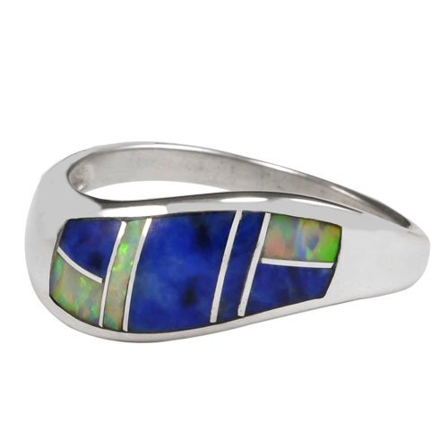 Small Wave Pattern Open Silver Inlay Ring