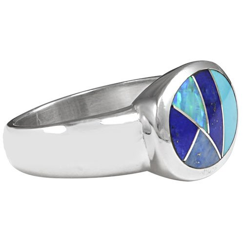 Oval Open Silver Inlay Ring