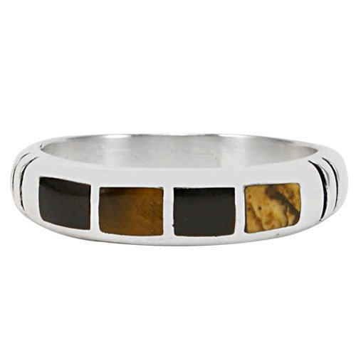 Four Stone Silver Inlay Row Ring