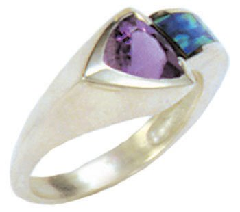 Silver Inlay Arrow Band Ring With Gemstone