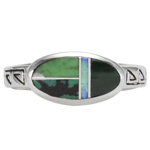 Oval Silver Inlay Ring With Stamp Designs