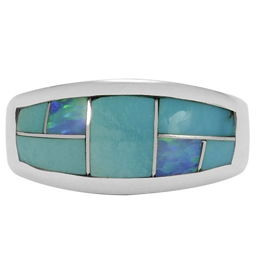 Tapered Silver Inlay Band Ring