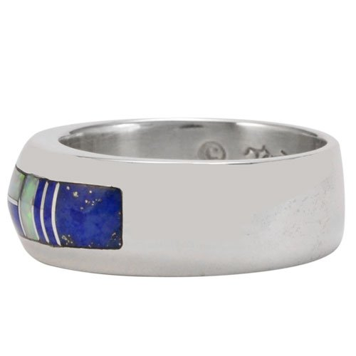 Wide Silver Border Silver Inlay Ring