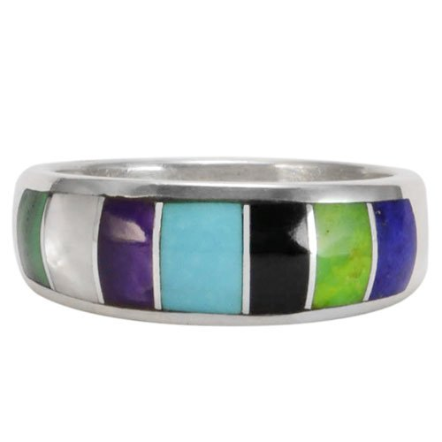 Silver Inlay 6mm Band Ring
